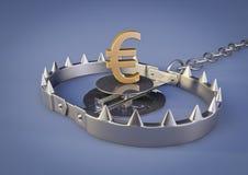 与欧元的熊陷井 库存图片