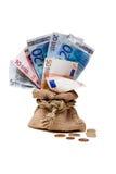 与欧元的硬币大袋 免版税图库摄影
