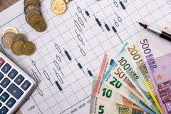与欧元的金融市场图 库存图片