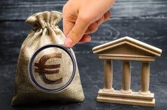 与欧元金钱和银行或者政府大厦的一个袋子 储蓄,投资在预算方面 津贴和补贴 ??  免版税库存照片