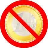 与欧洲硬币的禁止的路标 库存例证