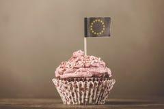 与欧洲联盟标志的奶油色cukcape 免版税库存图片