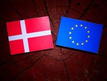 与欧盟旗子的丹麦旗子在被隔绝的树桩 库存照片