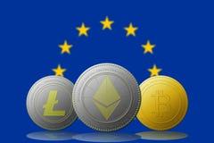 与欧盟旗子的Litecoin Ethereum Bitcoin cryptocurrency在背景 图库摄影