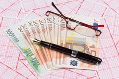 与欧洲钞票的抽奖券 图库摄影