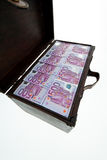 与欧洲钞票的胸口。金融危机, 库存照片