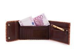 与欧洲钞票的钱包 免版税库存图片