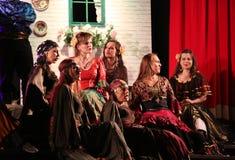 与歌剧的假日会议在Hucul小马Gladyszow育马场在Regietow 波兰 免版税库存图片