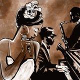 与歌手、萨克斯管和钢琴-例证的爵士乐队 免版税库存照片