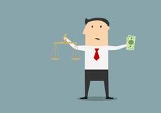 与正义标度和金钱的商人 免版税库存图片