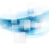 与正方形和波浪的发光的蓝色技术背景 免版税图库摄影