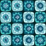 与正方形和花的无缝的样式 免版税库存照片
