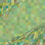 与正方形和透视壁角线的绿色几何背景 免版税图库摄影