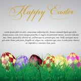 与正方形的复活节彩蛋在白色光亮的背景的草 免版税库存图片