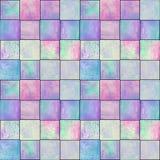 与正方形的抽象几何无缝的样式 五颜六色的水彩艺术品 免版税库存图片