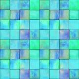 与正方形的抽象几何无缝的样式 五颜六色的水彩艺术品 库存图片