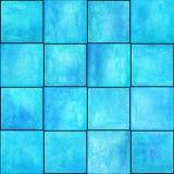 与正方形的抽象几何无缝的样式 五颜六色的水彩艺术品 免版税图库摄影