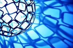 与正方形的蓝色轻的球形 库存图片