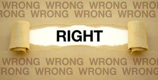 与正确和错误的文书工作 库存照片