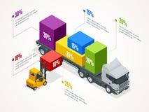与正确的卡车装货和铲车的等量后勤infographic模板 检查交付和ligistics服务 皇族释放例证