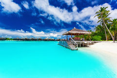 与步的跳船和棕榈树到热带蓝色盐水湖里 库存照片