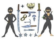 与武器的Ninjas 免版税图库摄影