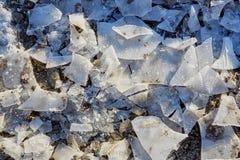 与残破的冰的冬天领域 库存照片