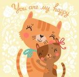 与母亲猫和小猫的花卉逗人喜爱的背景 库存照片