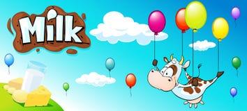 与母牛、五颜六色的气球和奶制品的滑稽的设计 库存照片