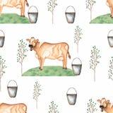 与母牛、树、草和桶的水彩无缝的样式 葡萄酒背景与牲口生活 皇族释放例证