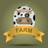 与母牛的动画片商标 库存图片