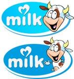 与母牛的蓝色传染媒介牛奶商标 库存图片