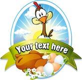 与母鸡和蛋例证的滑稽的标签 免版税库存照片