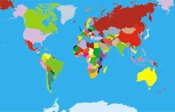 与每个大陆的世界地图 免版税库存照片