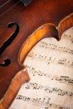 与比分的小提琴细节 免版税库存图片