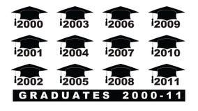 与毕业帽子2000-2011集合的文本在一个白色例证 皇族释放例证