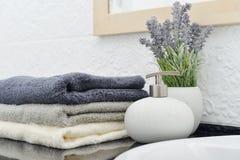 与毛巾的肥皂分配器 库存图片