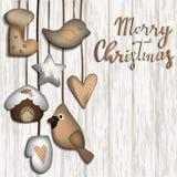 与毛毡玩具的圣诞节背景 库存例证