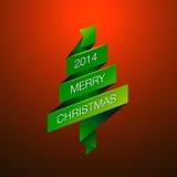 与毛皮树的圣诞快乐在红色背景 免版税库存照片