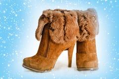 与毛皮的棕色高跟鞋脚腕启动 免版税库存照片