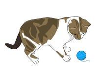 与毛线球的小猫 免版税库存图片