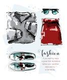 与毛线衣、裙子、鞋子和太阳镜的手拉的时髦的集合 时尚成套装备 给穿衣的集 草图 皇族释放例证