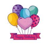 与气球和丝带装饰的生日快乐 向量例证