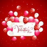与气球和五彩纸屑的文本愉快的情人节在红色假日背景 皇族释放例证