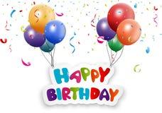 与气球和五彩纸屑的生日快乐卡片 向量例证
