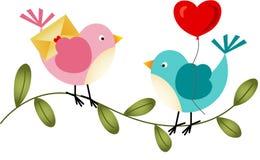 与气球和信封的可爱的鸟 向量例证