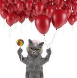 与气球和棒棒糖的逗人喜爱的猫 库存照片