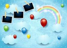 与气球和照片框架的超现实的天空 免版税库存图片
