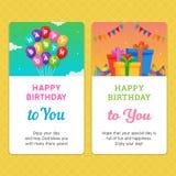与气球和礼物盒例证的生日快乐现代邀请卡片模板 免版税图库摄影