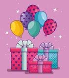 与气球和礼物礼物的生日快乐 库存例证